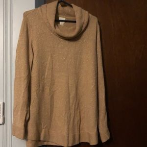 Chico's cowl neck taupe-blush tunic sweater